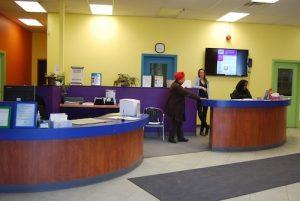 Reception desk at 116 Industry St.